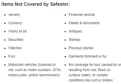 SafeStor Insurance - Excluded Items